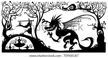 fantasy silhouette illustration