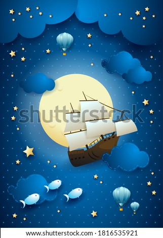 Fantasy sky with flying vessel and full moon. Vector illustation eps10 ストックフォト ©