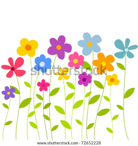 Fantasy spring flowers growing. Vector illustration