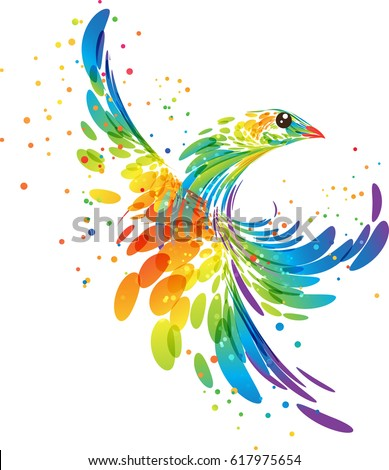 fantasy stylized colorful bird