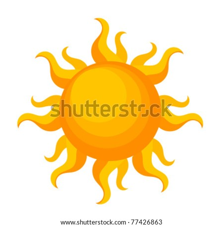 Fantasy sun over white. Vector illustration