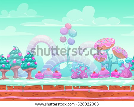 Fantasy sweet world illustration. Candyland scene with cute blue, mint and pink elements,background for game or web design. Vector seamless landscape with separated layers for parallax in animation.