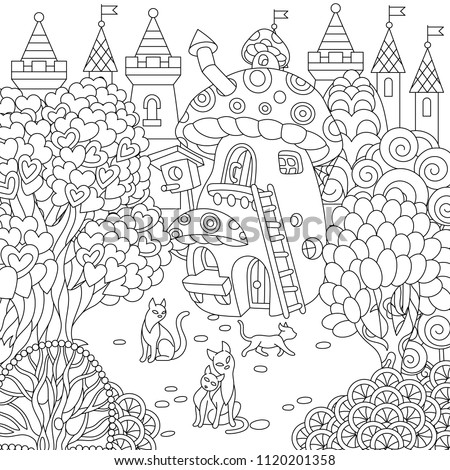 fantasy mushroom coloring pages - photo#21