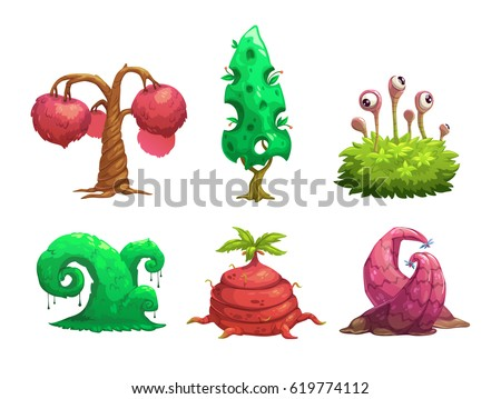 fantasy tree set vector