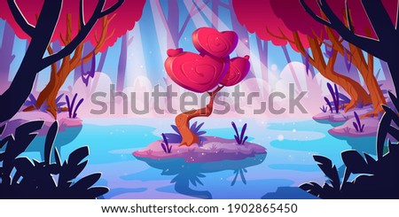 Fantasy tree with hearts shape crown in forest swamp. Vector cartoon landscape with magic red mushroom, unusual romantic tree. Fairy tale game background with love concept