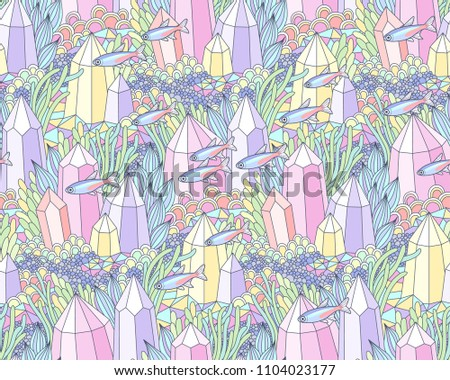 Fantasy underwater landscape with multicolor crystals, factastic plants and small fishes. Abstract seamless pattern for design and textile