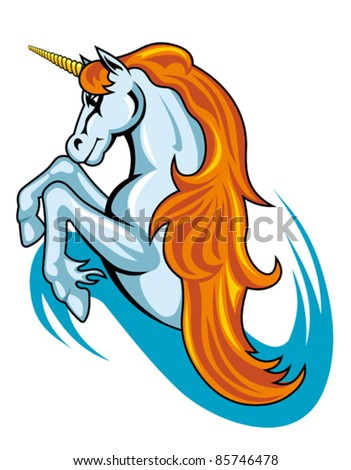 Stock Photo Fantasy unicorn horse in cartoon style for tattoo design. Rasterized version also available in gallery