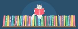 Fantasy white cat reading book sitting on bookshelf  on dark blue background. Fairy-tale vector illustration.