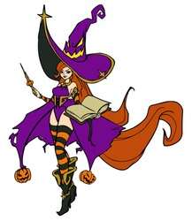 Fantasy witch wearing big hat, with magic wand and book. Hand drawn vector illustration. Can be used for Halloween cards, coloring books, pages, tattoo, games etc.