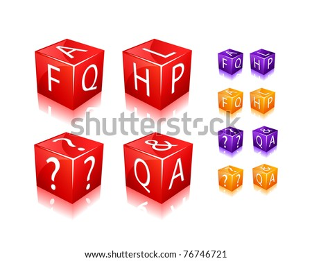 FAQ and Help Text on Cubes. Icon Set Isolated on White Background. Vector Illustration.