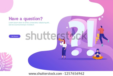 FAQ and Q&A vector ilustration concept, people asking to online support center via smartphone and laptop, can use for, landing page, template, ui, web, mobile app, poster, banner, flyer