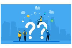FAQ and QnA.people asking to online support center with Tiny People Character Concept Vector Illustration, Suitable For web landing page,Wallpaper, Background, Card, banner,Book Illustration