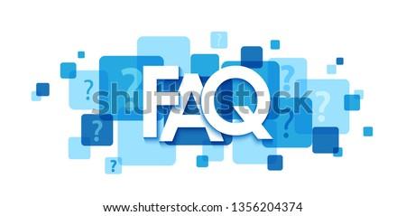 FAQ blue typography banner