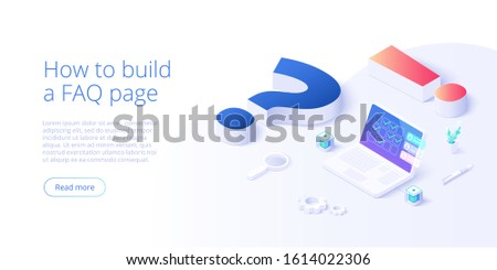 FAQ concept in isometric vector illustration. Frequently asked questions background with question and exclamation marks and laptop. Web banner layout template. Сток-фото ©