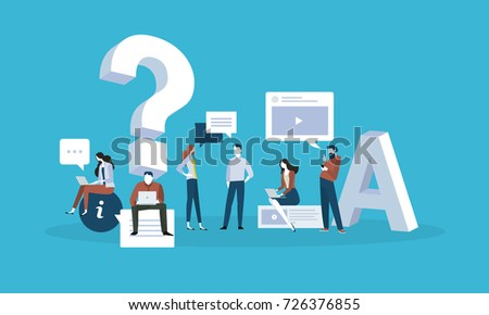 FAQ. Flat design business people concept for answers and questions. Vector illustration for web banner, business presentation, advertising material.