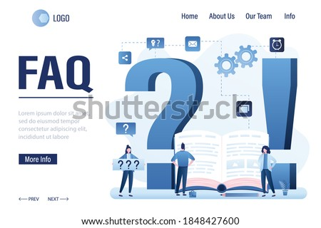 FAQ landing page template. Big question and exclamation marks. Business people need help, many questions. Male manager reading user manual. Finding answers, solving problems, brainstorming. Vector Foto stock ©
