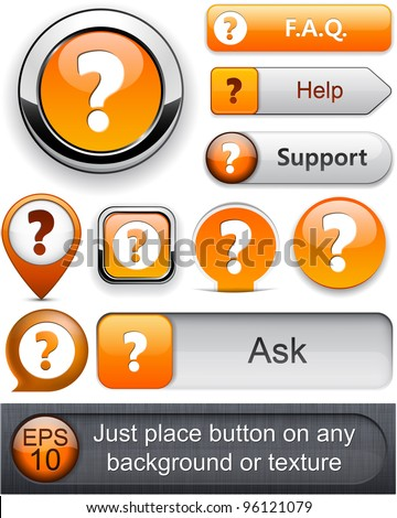 FAQ orange web buttons for website or app. Vector eps10.