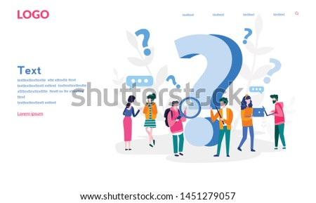 FAQ. People frequently asked questions around question marks. Vector illustration for web banner, print, infographics, mobile website. Landing page template. Answer to question on website.