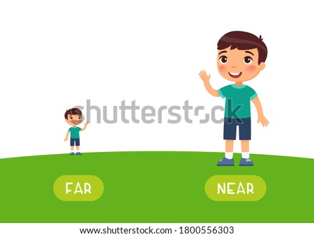 Far and near antonyms word card vector template. Opposites concept. Flashcard for english language learning. Little boy stands far on the horizon, a child is close.  Foto d'archivio ©