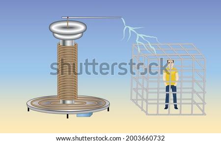 Faraday Cage. Physics Experiment. Electricity. Tesla Coil. Stok fotoğraf ©
