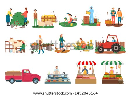 Farm activities vector, beekeeper and people cutting bushes, harvesting man and woman, milkmaid with cow, lady feeding chickens, tractor and sellers. Farmers market. Man and woman farming