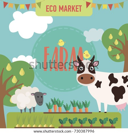 Farm agriculture landscape card with farmer products, fresh farm vegetables and fruits  natural food cartoon. Vector illustration