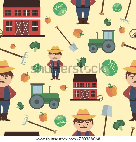 Farm agriculture seamless pattern with farmer products, fresh farm vegetables and fruits  natural food cartoon. Vector illustration