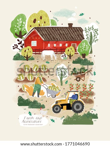 Farm and agriculture. Vector cute illustrations of men carries wheelbarrow cart, tractor on field, vegetable harvest in garden, red barn, trees, horse. Freehand drawings for poster, banner or postcard