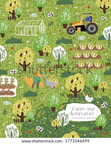 Farm and agriculture. Vector pattern illustrations of people cares for garden, potted plant, men carries wheelbarrow, tractor on field, greenhouse, grows organic vegetables. Drawings for poster, cover