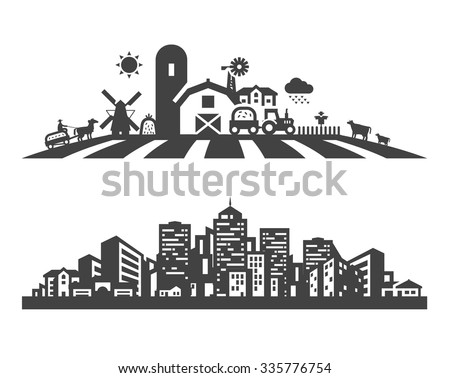 farm and city vector logo