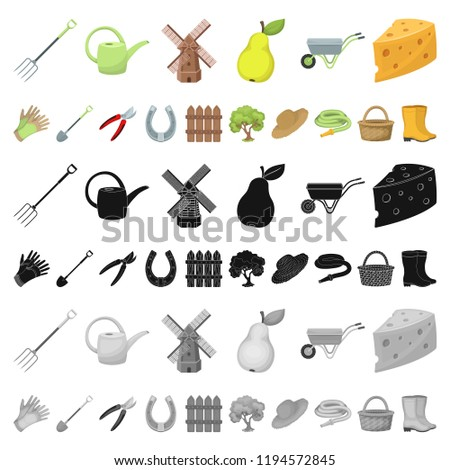 Farm and gardening cartoon icons in set collection for design. Farm and equipment vector symbol stock web illustration. #1194572845