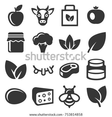 Farm and Organic Food Icons Set. Vector illustration