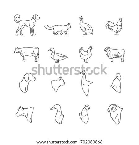 farm animal and birds thin line ...
