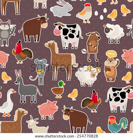 Farm animal and pets stickers pattern Cow and sheep pig and horse