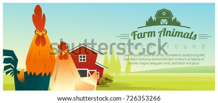 Farm animal and Rural landscape background with chicken , vector , illustration