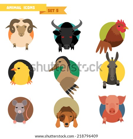 farm animal avatars set with
