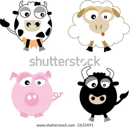 farm animal cartoons  cow  pig