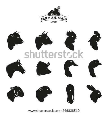 Farm Animal Icons Isolated on White