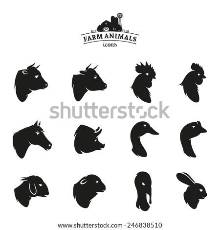 farm animal icons isolated on