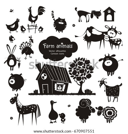 Farm animal icons. Vector silhouettes isolated on white background.