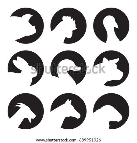 Farm Animal Icons. White on a black background