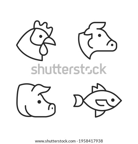 Farm animal outline icon set. Pig, cow, chicken, fish. Icon for product packaging.