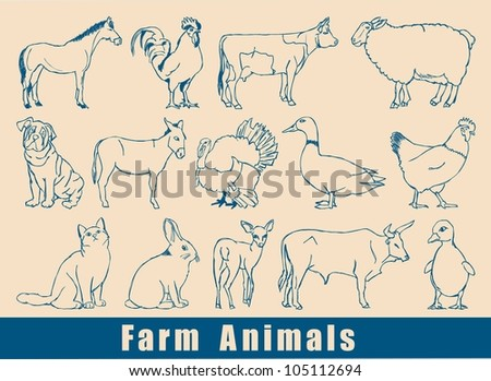 farm animal vector set,sketched