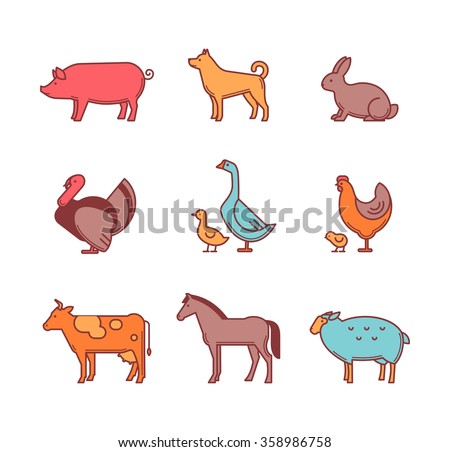 Farm animals and pets vector icons set isolated on a white background. Outline style characters vector illustration.
