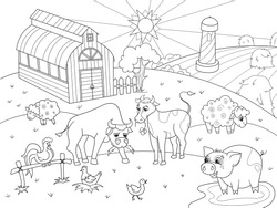 Farm animals and rural landscape coloring book for adults vector illustration. Anti-stress for adult cow, pig, bird, building. Zentangle style sky. Black and white lines listen sun Lace pattern nature