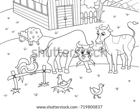 Farm Animals And Rural Landscape Coloring Book For Adults Vector Illustration Anti Stress