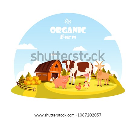 Farm animals at paddock with barn. Cow and pig, chicken and hen at village yard with fence. Rural livestock, countryside beasts or cattle. Food cultivation and organic farm, agriculture theme