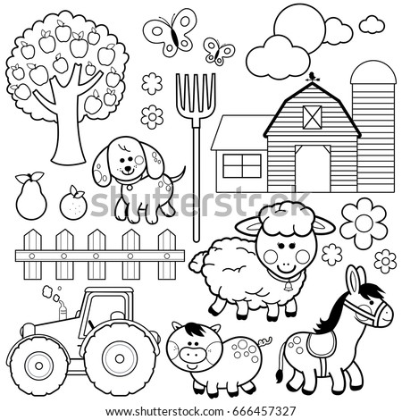 Farm animals. Black and white coloring book page