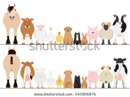 farm animals border set  front