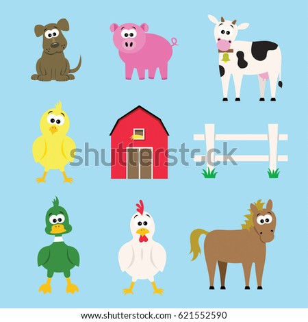 Farm Animals Cartoon Vectors